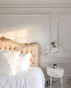 The bed of my dreams and I can finally show you - as I just got my washing machine installed which means fresh new sheets - and I couldn't… Parisian Room, Parisian Decor, Home Interior, Interior Design, Muebles Shabby Chic, Aesthetic Room Decor, Beige Aesthetic, Room Ideas Bedroom, My New Room