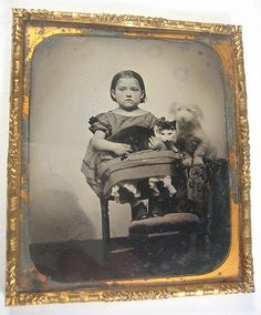 1 6 Plate Ruby Glass Ambrotype of A Young Girl with Her Cat and Dog Too Cute | eBay