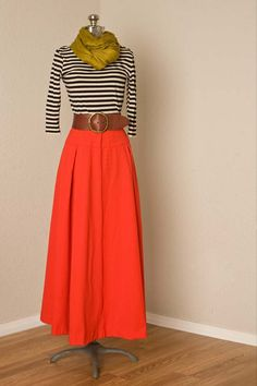 1970s vintage high waisted red maxi skirt