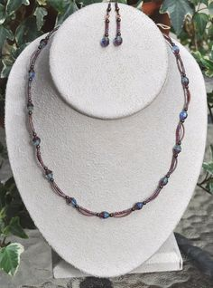 Jewelry - Necklaces - Blue and Antique Copper Necklace and earring set by JewelryArtByGail