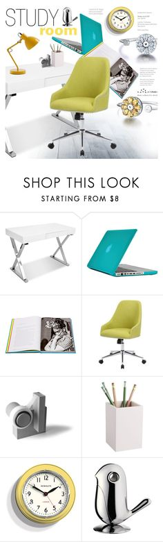 """""""Study Room"""" by totwoo ❤ liked on Polyvore featuring interior, interiors, interior design, home, home decor, interior decorating, Speck, Assouline Publishing, CB2 and Newgate"""