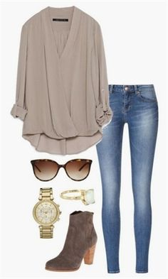 nice draped blouse love this whole outfit! Mode Outfits, Casual Outfits, Fashion Outfits, Womens Fashion, Fashion Trends, Ladies Fashion, Dress Fashion, Polyvore Outfits Casual, Jeans Fashion
