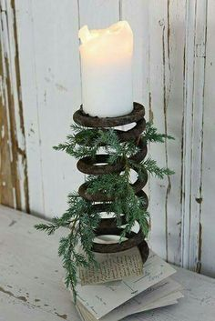 Reclaimed rustic candleholder / card holder