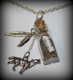 Twilight Saga New Moon Jacob Black La Push Beach Sand Bottle Necklace with Wolf and Feather charms