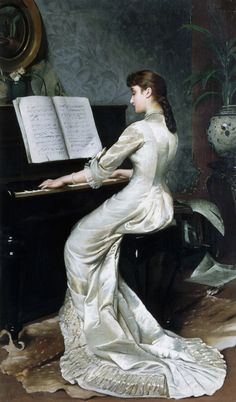 Song Without Words, Piano Player, 1880 Art Print by George Hamilton Barrable. All prints are professionally printed, packaged, and shipped within 3 - 4 business days. Choose from multiple sizes and hundreds of frame and mat options. George Hamilton, Piano Art, Piano Music, Art Ancien, Victorian Art, Framed Prints, Art Prints, Beautiful Paintings, Classical Music