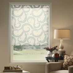 3 Fresh Palettes for Fall Decorating - Fabric roller shades in china blue create beautiful contrast with autumnal orange accents. Fall Home Decor, Autumn Home, Patterned Blinds, Curtain Patterns, Curtain Ideas, Solar Shades, Moldings And Trim, Window Treatments, Laura Ashley