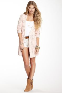 Free People Minnow Rip Tide Linen Blend Cardigan by Free People