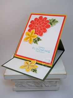 Stampin' Up! Flower Patch, Flower Fair framelits, photopolymer A Very Bright Easle Card by stampinggoose - Cards and Paper Crafts at Splitcoaststampers