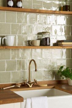 Mere field tiles in an offset pattern From the Cosmopolitan range at The Winchester Tile Company Handmade ceramic tiles made in the UK # Kitchen Wall Tiles, Kitchen Shelves, Kitchen Backsplash, Backsplash Ideas, Glass Shelves, Kitchen Cabinets, Kitchen Sink, Colourful Kitchen Tiles, Patterned Kitchen Tiles