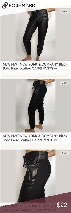New York & Company Black Faux Learher S Brand New! Perfect, with no stains holes or snags.  Front: 100% PU Back: 100% Polyester  Inseam 28 inches * Waist 30 inches * Hips 38 inches  * Rise 8.5 inches New York & Company Pants Track Pants & Joggers