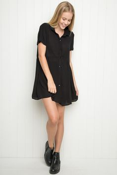 Brandy ♥ Melville   Emerson Dress - Dresses - Clothing Sheer textured fabric collar dress in black with a button-up front.