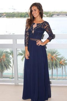 d3d8dcff470 Buy this beautiful Navy Crochet Maxi Dress with 3 4 Sleeves from Saved by  the