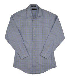 Kirkland Signature Men Dress Shirt Tailored Fit Non Iron Brown Blue Sz 15x32 NEW #KirklandSignature #DressShirt