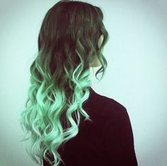 Green Ombre on Black Hair