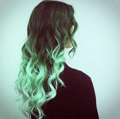 Green Ombre on Black Hair    followpics.co