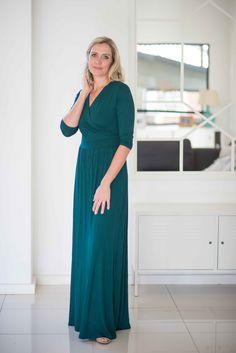 Elegant Cedar Green crossover dress - most flattering drop waist!