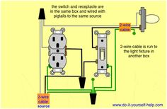 22 Best Light switch wiring images | Light switch wiring, Home ... how to wire a light switch and outlet in same box Pinterest