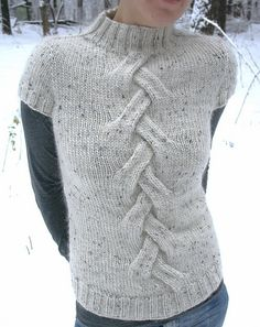 Yeti pull by Svetlana Volkova.  Would probably use a different cable, or even a lace panel, but the idea is cute, and dead simple!