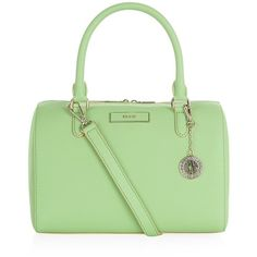 DKNY Saffiano Bowling Bag (5,815 MXN) ❤ liked on Polyvore featuring bags, handbags, studded handbags, studded purse, leather key ring, studded leather purse and dkny handbags