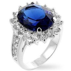 Silver Rhodium Plated Sapphire Cocktail Ring Blue Cubic Zirconia Royal Wedding #Unbranded #Cocktail