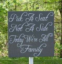 Extra Large Wedding Seat Sign Pick a Seat by TheFreckledOwlStudio, $49.95