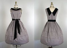 1950s Dress  Vintage 50s Chocolate Brown Gingham by jumblelaya, $128.00