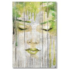 Tableau décoratif effet bois rêve de femme esquisse peinture verte