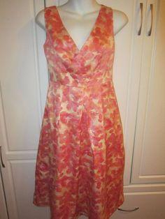 NWOT Womens Merona Watercolor Floral V Neck Dress Pink, Yellow, Orange  Small  #Merona #Festive