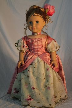 1885 late Victorian  gown with accessories for 18in american girl doll on Etsy, Sold