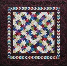 SueNami is an unusual Hunter's Star medallion-style layout. It was Studio Sue Tucker's very first quilt! It was also a 2009 Vermont Quilt Festival Triple Star Quilt Blocks, Star Quilt Patterns, Star Quilts, Scrappy Quilts, Baby Quilts, Quilting Projects, Quilting Designs, Quilting Ideas, Longarm Quilting