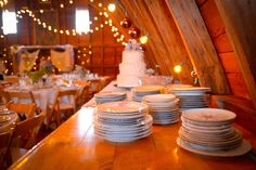 barn cake table--mis matched china