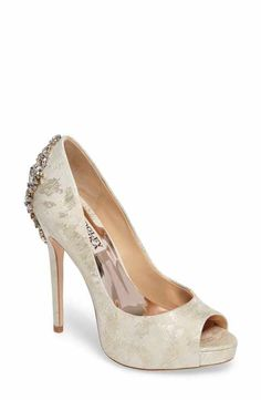 2323f699713 Badgley Mischka  Kiara  Crystal Back Open Toe Pump (Women) Bridal Wedding  Shoes