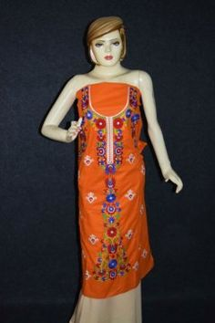 Pure Cotton Unstitched Embroidered Party Wear Kurti / kameez Fabric Cloth K0351