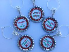 Holiday Table Decorations Christmas Wine Charms | PartySupplies2 - Seasonal on ArtFire