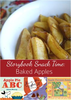 Enjoy a special treat after school with this yummy baked apples snack and list of apples books. It's fun to have a special storybook snack time.