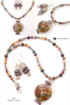 """Jasper gemstones, freshwater pearls and silver-toned accents create the zen appeal of this chic collar necklace set. Full length is 16"""", pendant falls 2"""". The unique texture and coloration of this nat"""