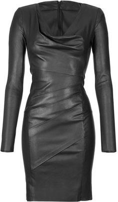 JITROIS Black Stretch Leather Dress