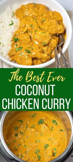 Easy & healthy Indian Coconut Chicken Curry made in an Instant Pot in just 30 minutes! Enjoy this dairy-free and gluten-free curry over rice or naan bread.