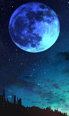 Blue moon - RoDé Prokop - Space Everything Cute Galaxy Wallpaper, Night Sky Wallpaper, Planets Wallpaper, Wallpaper Space, Scenery Wallpaper, Dark Wallpaper, Iphone Wallpaper Sky, Beautiful Nature Wallpaper, Beautiful Moon
