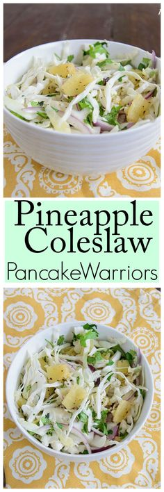 Pineapple Coleslaw Recipe - this low fat, vegan, paleo coleslaw is a perfect dish for summer get together or an easy weeknight dinner side dish! Perfect for cookouts, no refrigeration needed! Clean Eating Recipes, Healthy Eating, Cooking Recipes, Whole Food Recipes, Vegetarian Recipes, Healthy Recipes, Amish Recipes, Paleo Coleslaw, Pineapple Coleslaw