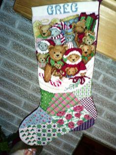 Cross Stitch Christmas Stocking - Just Bears