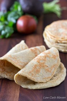 Almost Zero Carb Wraps are great as soft tortilla shells or as low carb sandwich wraps. Only 1 net carb in 2 wraps! This amazing recipe is Low Carb, Gluten-free, Primal, Keto and THM! Low Carb Wraps, Ketogenic Recipes, Low Carb Recipes, Cooking Recipes, Diabetic Recipes, Ketogenic Diet, Diabetic Desserts, Diet Recipes, Healthy Eating Recipes