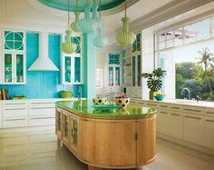 turquoise kitchen decor with turquoise backsplash and unique hanging lamp decolovernet - Turquoise Kitchen Decor