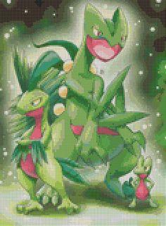 Pokemon Treecko Evolutions (75 Colors) Cross Stitch Pattern