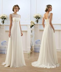 Potential back-up dress if what I want isn't available. Lace Chiffon Empire Wedding Dresses 2016 Sheer Neck Capped Sleeve A Line Long Chiffon Wedding Dresses Summer Beach Bridal Gowns Hot Selling Weddings Dresses Weding Dresses From Bestdeals, $65.88  http://Dhgate.Com