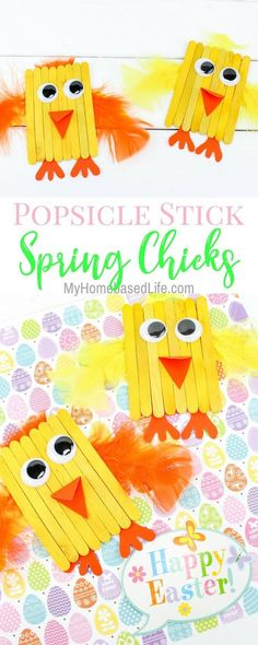 Spring Chicks kids craft: These take little time and are completely adorable. crafts for teenagers Popsicle Stick Spring Chicks Kids Craft Arts And Crafts For Teens, Spring Crafts For Kids, Diy Crafts For Kids, Projects For Kids, Easy Crafts, Art Projects, Craft Kids, Kids Diy, Popsicle Stick Crafts For Kids