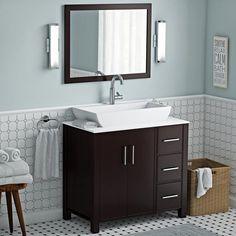 Latitude Run Gainesville 36 Single Free Standing Bathroom Vanity Set with Mirror Bathroom Niche, Bathroom Trends, Budget Bathroom, Bathroom Storage, Bathroom Vanities, Vanity Set With Mirror, Vanity Sink, Large Bathrooms, Small Bathroom