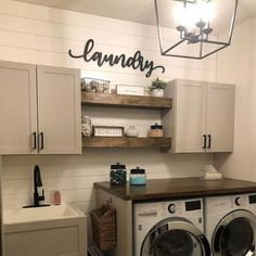 37 Beautiful Small Laundry Room Makeover Ideas - Its one of the most used rooms in the house but it never gets a makeover. What room is it? The laundry room. Almost every home has a laundry room and . Rustic Laundry Rooms, Laundry Room Signs, Laundry Room Organization, Laundry Room Shelves, Laundry Room Wall Decor, Laundry Room With Sink, Farmhouse Decor Bathroom, Industrial Farmhouse Decor, Laundry Detergent Storage