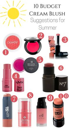 Tis the season for cream blushes and I created a list of 10 Budget Cream Blush Suggestions for Summer that will give your cheeks the perfect flush of light