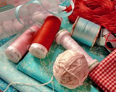 Aqua and Red Sewing Notions- colours for logo MP